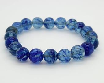 "Blue Transpernt Beads Size 10mm. Length 8"" Semi-Precious Gemstone Elastic Cord Bracelet Accessories"