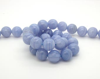 Blue Lace Agate Beads, Grade AA Natural Agate Smooth Round Ball Sphere Gemstone Beads, 15.5 Inch Full Strand (6mm 8mm 10mm 12mm )