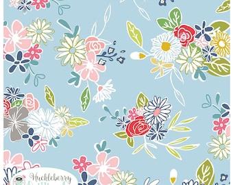 Daisy Days, Daisy Main Blue, Riley Blake Fabric, Keera Job, Floral, Quilting Fabric, Cotton Fabric, Yardage
