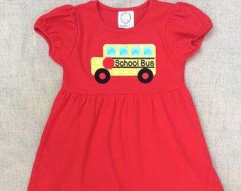 Back to school dress , School Bus Dress, School Bus Appliqué