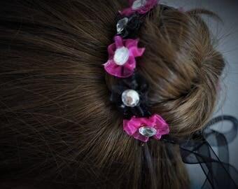 Black and Hot Pink Bun Wrap, Flower Bun Wreath, Ballet Bunflower, Bun Garland for Dance, Satin Bun Wrap