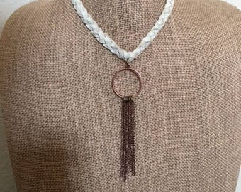 Braided Natural Deerskin Leather Necklace with Brass Ring and Brass Chain Fringe