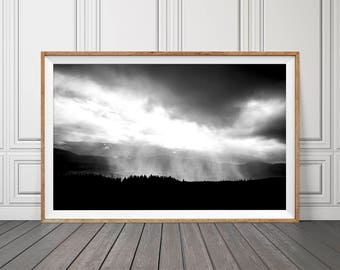 Clouds Rain Wall Art, Black and White Landscape, Printable Mountain, Printable Mountains, Landscape Print, Clouds Wall Print, Mountain Print