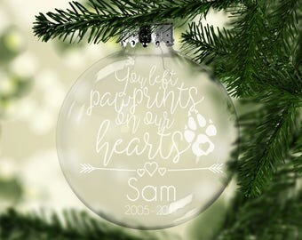 Dog Memorial Ornament - Pet Loss - Personalized Dog Ornament - Pet Remembrance - Dog Keepsake Christmas Ornament - Family Pet - Pawprints