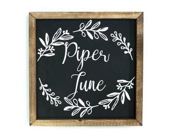 Customized Floral Name Sign