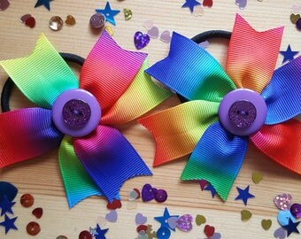 PAIR of Fun Rainbow Hairband Bobbles. Handmade Handstitched & Strong