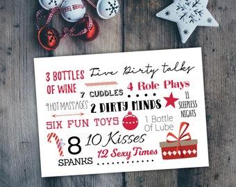 naughty holiday card, funny Christmas card, adult Christmas card, typography card, naughty Christmas , sexy holiday card, kinky card