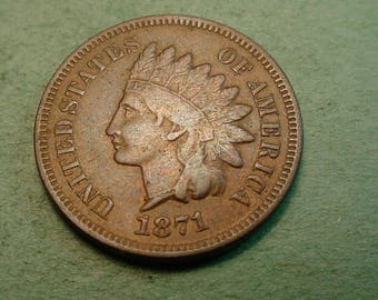 1871 Indian Head Cent Good  Very Good / Fine / Insurance included in SH  <>ET5363