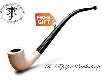 """Lord of the Rings pipe Gandalf pipe Smoking pipe """"White""""/Tobacco pipe Churchwarden pipe Hobbit pipe Long stem pipe/Custom engraving +POUCH"""
