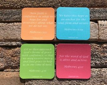 Set of 4 Hebrews Bible Verses Felt Coasters