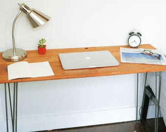 Reclaimed Wood Desk, Ready to ship! Writing Desk, Rustic Desk, Industrial Desk, Hairpin Leg Desk, Office Desk Computer Desk, Minimalist Desk