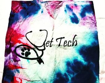 Vet tech vet nurse veterinary technician tie dye signature tote by vettechstuff.com