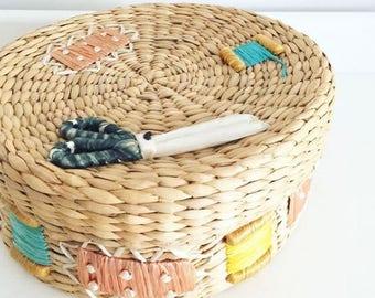VINTAGE CANE round basket/bowl