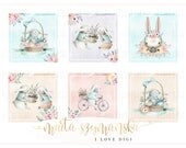 Easter printable digital collage sheet - pastel and watercolor rabbits - scrapbookind, cardmaking, party supplies