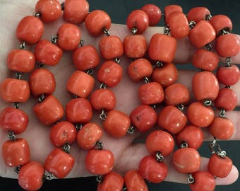 117 Gram large coral beads antique natural coral necklace