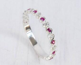 Ruby wedding ring, Ruby wedding band, Silver ruby ring, Eternity wedding band, Eternity wedding ring, Silver eternity band, Delicate band