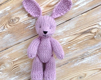 Newborn photo prop toy, knitted bunny rabbit, photography prop, stuffed animal, soft plush toys, small bunny 6 inch, lilac bunny