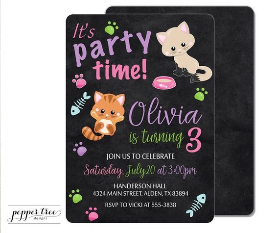 Kittens birthday invitation in pink with black background cat il570xn filmwisefo Image collections
