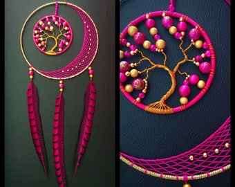 Dream catcher Moon and tree of life gold and fuchsia