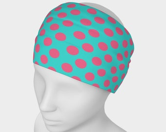 Turquoise and Pink Polkadot /scarf/face warmer (one size fits all)