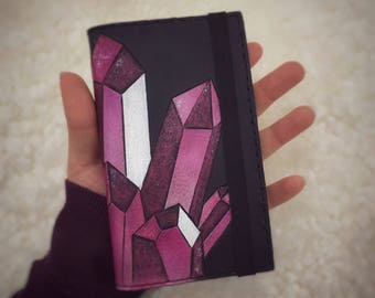 Pink Crystals Leather Journal
