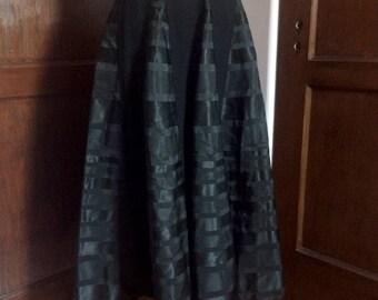 1950s Black Satin & Wool Full Skirt by Junion House