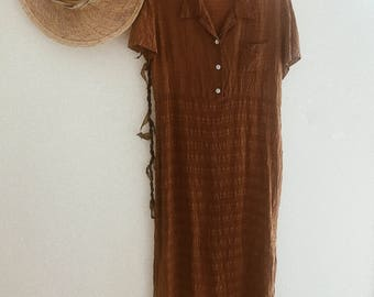 Vintage Rust Honey Color 1980's Maxi Dress