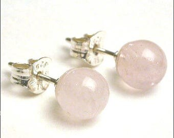 Rose Quartz - 5mm Round Studs Earrings - Sterling Silver