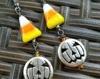 Candy Corn Jack O'Lattern Earrings