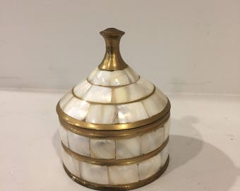 Brass and Mother of Pearl Trinket Jar
