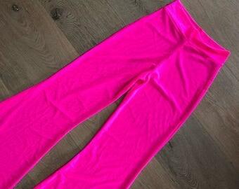 Hot Pink Flared Mesh Pants
