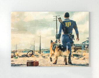 Fallout watercolor poster, video game art.
