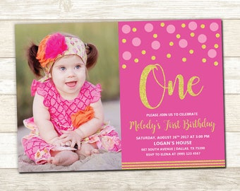 Pink and Gold 1st Photo Birthday Invitation - Purple and Gold 1st Birthday Party - Pink and Gold 1st Birthday Party - Polka Dot Party Invite