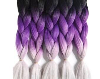 Jumbo kanekalon hair for braiding purple gray black ombre