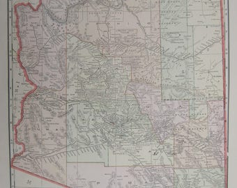 1914-Arizona Antique Map- Lovely 103 year old, vintage map of Arizona- Home Décor