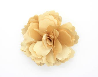 2 Gold Yellow Rose Flower Baby Girl Hair Clips Brooches 1 Pair