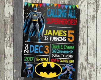 Batman Invitation, Batman Birthday Party, Batman Birthday Invitation, Personalized, Digital File