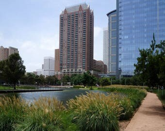 Houston Skyline from Discovery Green