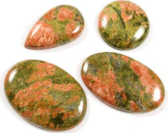 Natural Unakite Gemstone Cabochon Oval,Round, Pear Shape Loose Gemstone For Jewelry Making,110 Cts 4 Pcs Wholesale Lot,LAA-90
