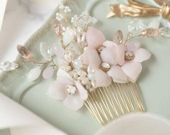 Dancing in the Blossom- Hydrangea crystal Hair comb/bridal comb/wedding comb/wedding accessory
