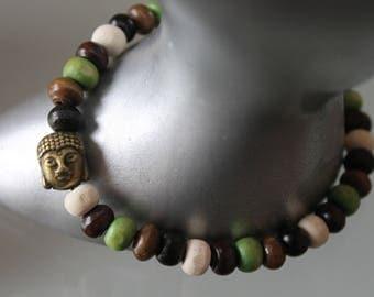 Men's bracelet. wooden Bead Bracelet Buddha .bracelet. boho bracelet. Buddhist bracelet. bronze charm - zen. Brown white green