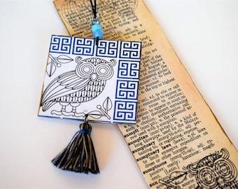 Greek Owl Bookmark, Classic Studies Teacher, Book Page Art Collage, Unique Bookish Gift , Custom made Bookmark