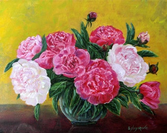 "Original oil painting on the canvas ""Peonies in a vase"", floral painting 11.8""x15.7"", fine art, Interior painting"