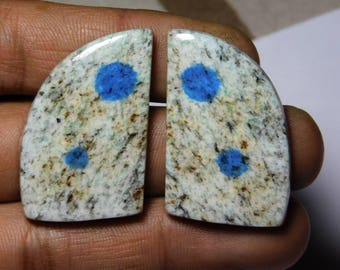 Pair! AAA quality k2 jasper gemstone Excellent cabochons handmade loose gemstone beautiful smooth polish 100% natural 76.10cts, (34x22x4)mm