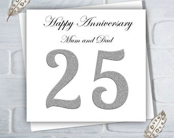 Wedding Anniversary Card For Parents, For Mum and Dad, 25 Years, Silver Wedding Anniversary, Free UK Shipping