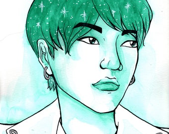 Suga and Stars - Original Celebrity Portrait Illustration - Min Yoongi from BTS Watercolor Painting / Ink Drawing