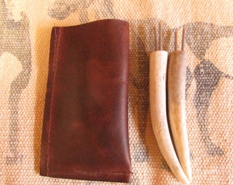 Deer Horn/Antler Shed Corn on the Cob Holders with leather pouch (Great fathers day gift).
