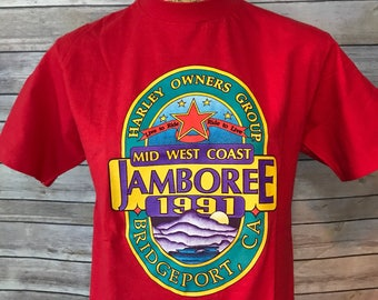 Vintage 90s Mid West Coast Jamboree Harley Owners Group T-Shirt (M)
