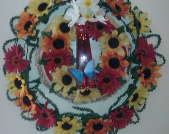 One of a Kind plate and Vase Wreath  /  FREE SHIPPING!