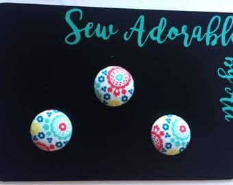 Fabric magnets, kitchen decor, kitchen art, decorative magnets, fridge magnets, refrigerator magnets, inexpensive gift, unique gift